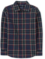 Boys Matching Family Plaid Poplin Button Down Shirt