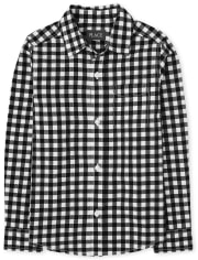 Boys Gingham Poplin Button Down Shirt