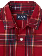 Boys Matching Family Plaid Poplin Button Down Shirt