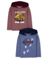 Pack de 2 sudaderas con capucha estampadas para niños pequeños