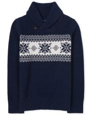 Boys Fairisle Shawl Neck Sweater