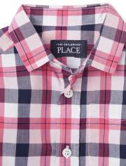 Camisa de popelina a cuadros con botones para niños pequeños