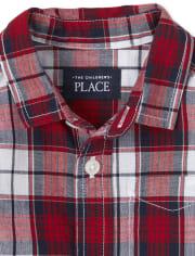 Toddler Boys Plaid Poplin Button Down Shirt