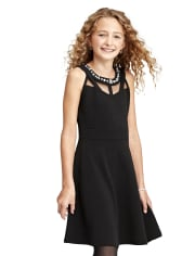 Girls Jeweled Stretch Jacquard Dress