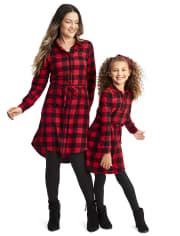 Vestido camisero a cuadros de búfalo de la familia a juego para mujer