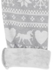 Leggings con forro polar Fairisle para niñas pequeñas