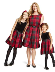 Girls Mommy And Me Velour Buffalo Plaid Matching Knit To Woven Dress