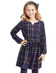 Girls Matching Family Plaid Peasant Dress