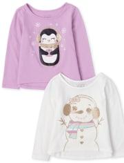Toddler Girls Glitter Top 2-Pack