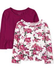 Toddler Girls Floral Peplum Top 2-Pack