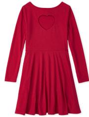 Girls Heart Cut Out Skater Dress