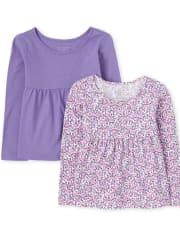 Toddler Girls Print Tunic Top 2-Pack