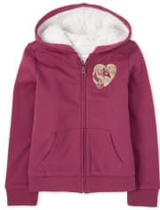 Girls Embellished Sherpa Fleece Zip Up Hoodie