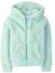 Girls Sparkle Faux Fur Zip Up Hoodie