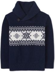 Toddler Boys Fairisle Shawl Neck Sweater