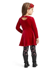 Baby And Toddler Girls Velour Bow Back Dress