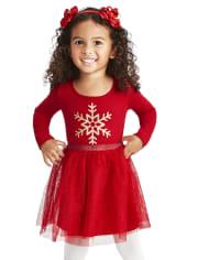 Toddler Girls Glitter Snowflake Knit To Woven Tutu Dress
