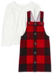 Toddler Girls Buffalo Plaid Corduroy Skirtall Outfit Set