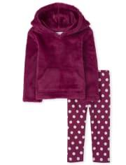 Toddler Girls Faux Fur Hoodie Outfit Set