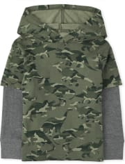 Toddler Boys Camo Dino 2 In 1 Hoodie Top