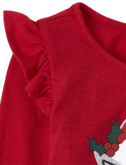 Toddler Girls Christmas Cat Outfit Set