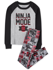 Boys Ninja Mode Snug Fit Cotton Pajamas