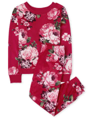 Girls Mommy And Me Floral Velour Matching Pajamas