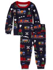 Pijama de algodón con ajuste ceñido de trenes para bebés y niños pequeños