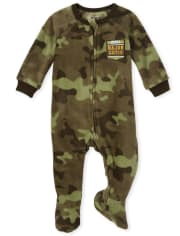 Baby And Toddler Boys Camo Fleece One Piece Pajamas