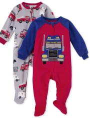 Paquete de 2 pijamas de una pieza de forro polar de camión para bebés y niños pequeños