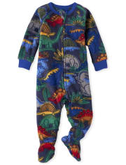 Pijama de una pieza de lana con diseño de dinosaurio para bebés y niños pequeños