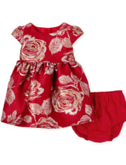Baby Girls Mommy And Me Metallic Rose Jacquard Matching Dress