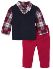 Baby Boys Plaid Sweater Vest Outfit Set