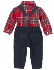 Baby Boys Matching Family Plaid Poplin Outfit Set