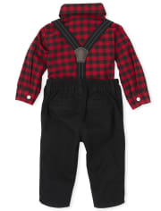 Baby Boys Matching Family Buffalo Plaid Oxford Outfit Set