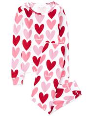 Girls Hearts Snug Fit Cotton Pajamas