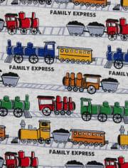 Pijama de una pieza de algodón con ajuste ceñido de trenes para bebés y niños pequeños