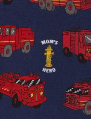 Pijama de una pieza de algodón con ajuste ceñido de camión de bomberos para bebés y niños pequeños