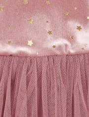 Baby Girls Velour Glitter Tutu Dress And Faux Fur Vest