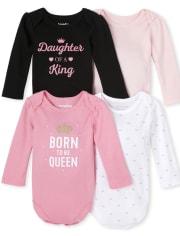 Baby Girls Queen Bodysuit 4-Pack