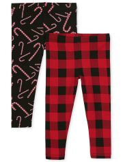 Paquete de 2 leggings estampados para niñas pequeñas
