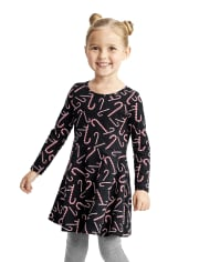 Baby And Toddler Girls Candy Cane Skater Dress
