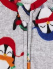 Paquete de 2 pijamas de una pieza de felpa con diseño de pingüino para bebés y niños pequeños
