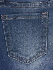 Girls Roll Cuff Distressed Denim Skimmer Shorts