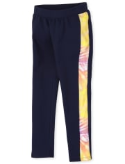 Girls Rainbow Cozy Side Stripe Leggings