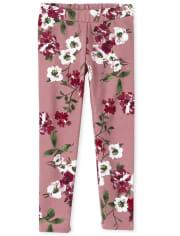 Girls Print Fleece Lined Cozy Leggings