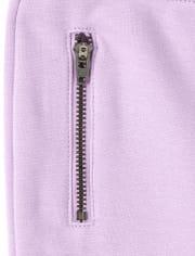 Girls Zip Ponte Knit Pull On Jeggings