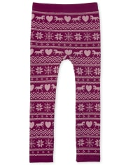 Girls Fairisle Fleece Lined Leggings