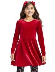 Vestido niña terciopelo con lazo en la espalda