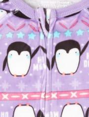 Pijama de una pieza de lana Fairisle con forma de pingüino para bebés y niñas pequeñas